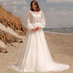 Other Wedding Dresses Scoop Long Sleeve Lace Appliques Sash Bow Button A-Line Tulle Dress Destinaiton Bridal Robes De Mariées1