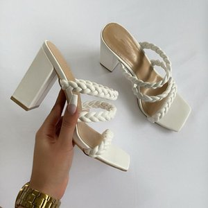 Sandals Square High Heels Woman 2021 Summer Shoes Weave Open Toe Fashion Women Leather Casual Outside Baech