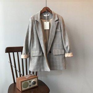2021 весенние корейские плещеные пальто женское расслабленное случайный темперамент студент маленький костюм топ