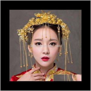 Tiaras Schmuck Drop Lieferung 2021 Chinesische Braut Haarzubehör Phoenix Crown Hochzeitskostüm Headwear Set A-31 R73VK