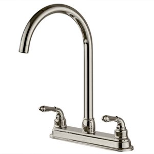 """2 Holes Kitchen Fixed Faucet Washerless cartridges 1 2"""" threaded male water inlet shanks Electroplating Surface 8"""" Centerset Swivel spout"""