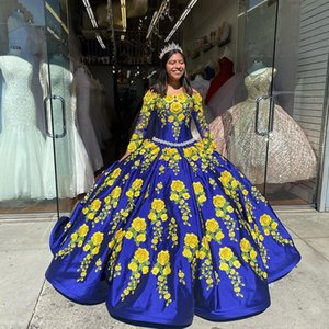 Blue Ball Gown Quinceanera Dresses Off the Shoulder Long Sleeve Embroidery Appliques Birthday Prom Dress Satin Ruffles Sweet 16 Gowns