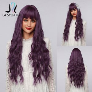 La Sylphide Halloween Cosplay Lolita Wig Long Nature Wave Purple Synthetic Hair Wigs with Bangs for Wo Heat Ristant Fiber