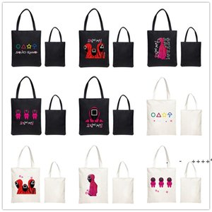 Large Capacity Korean Squid Game Shopping Bags Harajuku Cartoon Vintage Hip Hop Bag Canvas shoulderbag Funny Women's Handbag RRB11086