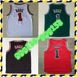Jersey Material Bordado cosido Derrick Rose Basketball Jerseys Negro Rojo Rojo Verde