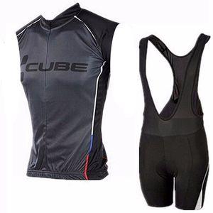 큐브 프로 팀 사이클링 민소매 유니폼 조끼 턱받이 반바지 빠른 건조 Ropa Ciclismo Mens 자전거 타이틀러 칼로트 착용 H040206