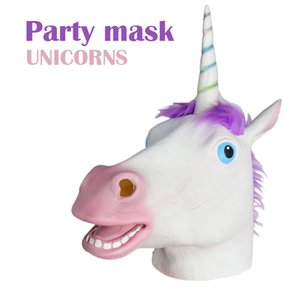 European And American Halloween Party Dance Performance Unicorn Horse Head Mask Headgear Props Latex Animal Amazon