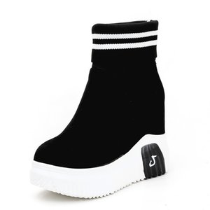 boot Women ankle sock boots woman super high heels short elastic autumn platform shoes E9CT