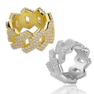 رجالي حلقات شكل الماس الذهب تشيكوسلوفاكيا بلينغ مايكرو تمهيد مكعب زركونيا مقلد الماس الهيب هوب حجم # 7-size # 11