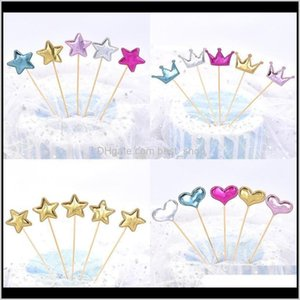 Other Festive Party Pu Decorations Star Sequins Love Heart Shaped Reflection Colorful Fashion Crown Cake Decorate Wedding Supplies 3Jy Szzx1