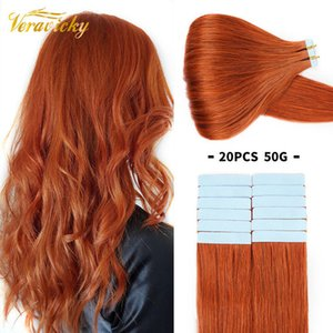 Veravicky 2.5G P Tape In Hu Extensions Weft Adhive Invisible Machina Remy Seamls 100% Real Hair Copper Red