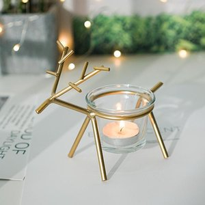 Candle Holders Ins Nordic Iron Props Romantic Lamp Holder Simple Modern Retro Glass Home Decoration Ornaments