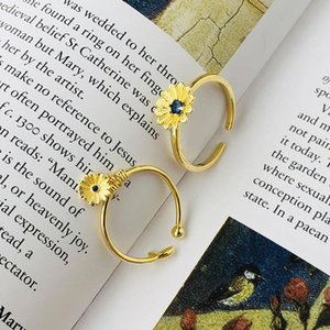 Cluster Rings 100% Sterling 925 Silver Cute Blue Crystal Daisy Flower For Women Jewelry, Sweet Gold Color Floral Ring Femme Accessories
