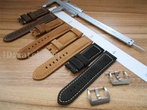 watchpart mens watch 24mm Cray horse Leather Watch Strap with Brush   Polish Buckle Fit 44mm PAM serial Watches AAA Watchband