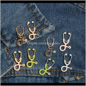 Pins, Drop Delivery 2021 Nurse Pins Medical Brooches For Women Fashion Colorful Metal Stethoscope Enamel Jewelry Men Jackets Badges Aessories