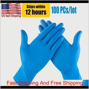 Cleaning Us Stock Blue Nitrile Disposable Powder Non Latex Pack Of 100 Pieces Antiskid Antiacid Gloves Fy4036 9D5Iy 6Zrg9