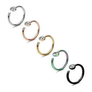 Stainless Steel Nose Ring Nail C Shaped Body Piercing Nose Ring Stud Crystal Diamond for Women Fashion Jewelry 350 Q2