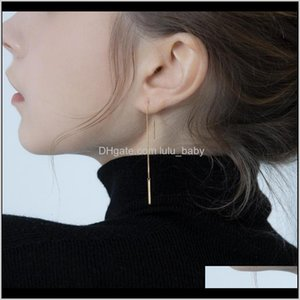 Pure Silver Plated 14K Gold Korean Simple Chain Femininity Long Tassel Line Anti Allergy 7Qpvy Plugs Tunnels D3Xy8