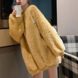 Hoodies Women Thicker Plush Fur Warm Soft Simple All-match Leisure Pullovers Womens Trendy Sweatshirts Women's &