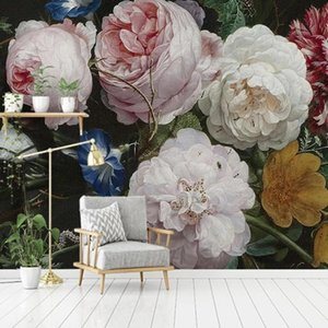 Custom 3D Self Adhesive Wallpaper Roll European Retro Nostalgic Floral Flowers Large Mural Art Wall Painting Living Room Decor Wallpapers