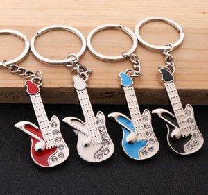 50 unids moda clásico guitarra llavero llavero llavero llavero instrumentos musicales accesorios colgantes para hombre mujer regalo hys08-1-6