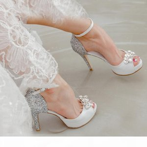 Genuine Leather Peep Toe White High Heels Buckle Strap Bridesmaid Shoes Silver Sequined Wedding Dress Shoes Fashion Party Pumps