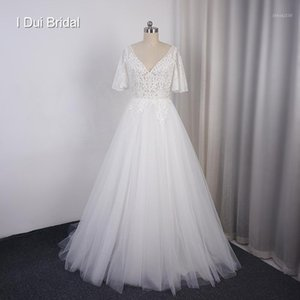 Other Wedding Dresses Flare Sleeve V Neck Lace Bridal Gown Factory Custom Made Real Po Beach Reception1