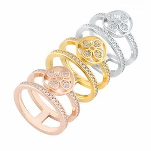 Europe America Style Ring Men Lady Women Titanium steel Settings Diamond V Initials Flower Hollow Out Lovers Wide Rings Size US6-US9