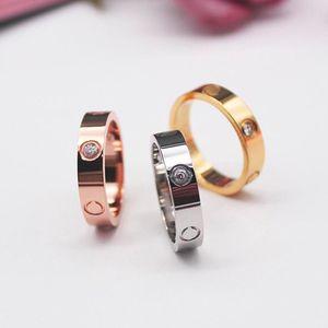 6mm Designer for Woman Ring Zirconia Engagement Titanium Steel Love Wedding Rings Silver Rose Gold Fashion jewelry Gifts Women Men with velvet bag KR002