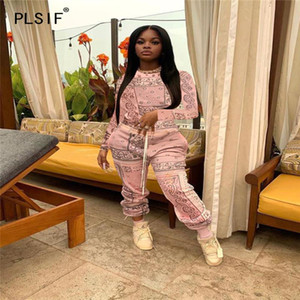 Women's Tracksuits Pink O Neck Long Sleeve Cool Print Crop Top And Pants 2 Pieces Set High Street Chic Lady Fashion Women Outfits