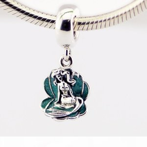 925 Sterling Silver Sorcerer Dangle Charm loose Bead Ariel in a Shell Fit European Pandora Style Jewelry Snake Chain Bracelets Necklaces