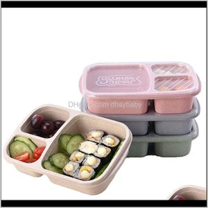 Kitchen Housekeeping Organization Home & Garden Drop Delivery 2021 3 Grid Boxes With Lid Microwave Fruit Take Out Container Portable Food Sto