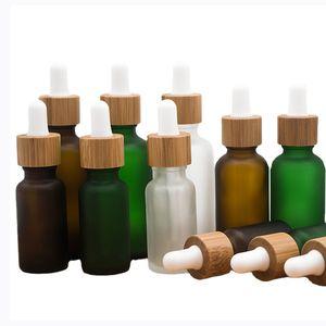 30 ml cam damlalık şişe bambu halka buzlu uçucu yağ şişeleri seyahat taşınabilir kozmetik boş şişeleme