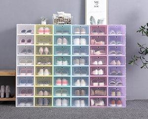 12-24Pieces Of Shoe Box Set Foldable Plastic Transparent Storage Boxes Clear Door Home Closet Organizer Case Shelf Stack Display 88212030