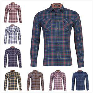 22 Colors Mens Plaid Shirts Cotton Velvet Dress Shirts Casual Warm Soft Comfort Long Sleeve Shirt Clothes camisa masculina Tops US Size