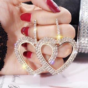 النساء بلينغ كامل كريستال دائرة مزدوجة مثلث القلب هوب أقراط الأزياء والمجوهرات أنيقة النبيلة أنيق huggie