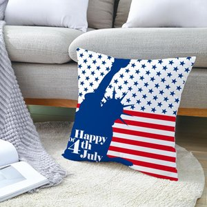 American Independence Day Pillowcase Plush Digital Printing Pillow Cover Home Decoration Car Pillow Cover 45*45cm ZZE6000