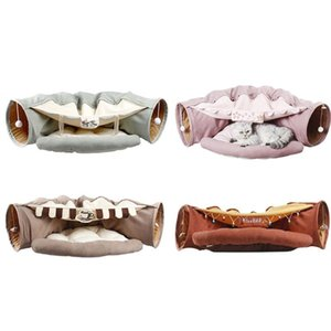 Collapsible Removeable Mat Cat Tunnel Tube Pet Interactive Play Toys Sound Paper Ring Bell for Cat Ferrets Puppy Pet Bed