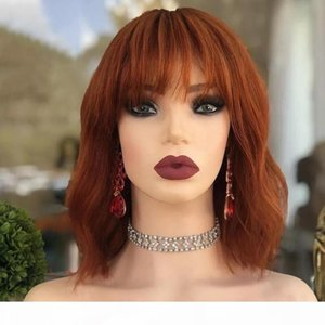 Eversilky Short Bob Ginger Blonde Full Lace Wigs for Black Women Peruvian Fringe Wigs 360 Lace Frontal Human Hair Wig with Bangs