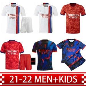 Erkekler + Çocuklar 20 21 22 Olympique Lyonnais Dört Kiti Futbol Formaları 2021 2022 Lyon Eve Uzakta Jersey De Foot Ol Traore Memphis Aouar Fekir Kırmızı Tayland Futbol Gömlek