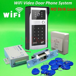 Android ISO App WIFI Video Door Phone RFID & Code Keypad Doorbell No Electric Strike Lock System + Power Supply Access Control Phones