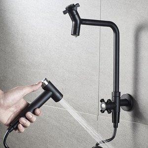 Modern Black Decorative Outdoor Garden Faucet Bathroom Washing Machine Mop Taps With Spray Gun Sink Faucets