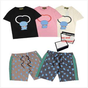 Homme d'impression de dessin animé costume estival T-shirts + shorts garçon garçon street cshirts hommes mode costume de mode haute qualité pantalon court