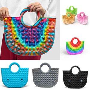 Newest Large Big Size Push Pops Bubble Hand Bag Rubber Tote Kids Adult Novelty Fidget Simple Toys Sensory Rainbow Gradient Silicone Handbags Finger Puzzle G83BGCW