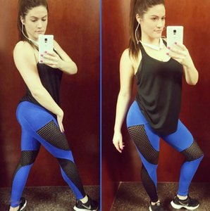 Spot 2020 explosion models yoga mesh splicing contrast color hips slim high waist sexy sports leggings