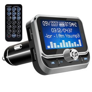 Car FM Transmitter With Remote Control Bluetooth MP3 Player Dual USB Car Modulator Charger 1.8 inch LCD Display Handsfree for Phone Call