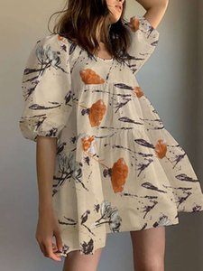 Floral Print Round Neck Puff Sleeve Pleated Tiered Holiday Casual Mini Dress