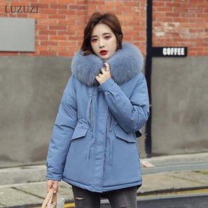 Luzuzi Kış 2020 Yeni Kısa kadın Ceket Kore Moda Parka Kadın Kürk Yaka Kapşonlu Kalın Sıcak Kadın Kış Ceket Coat1