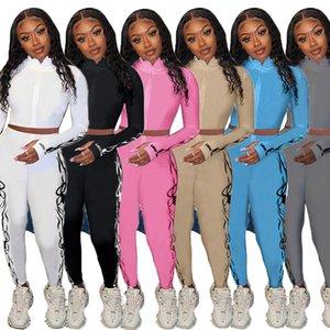 Lucky Label 2 Stück Sets Trainingsanzüge Frauen Ziptop Bleistift Hosen Gestrickte High Stretch Outfit Jogger Matching Set Mädchen
