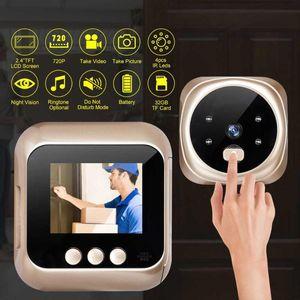 Mini Digital PO Enregistrement vidéo Home Sécurité Porte de sécurité Péthole Caméra Visionneuse Visionneuse Noir Vision 160 ° Large Large Numéro de sonnette de sonnette